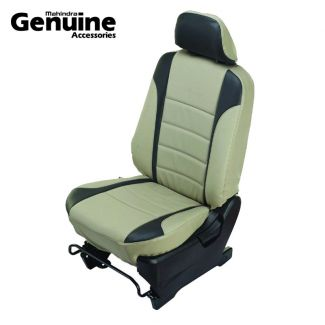 Scorpio 7 Seater (3rd Row - Side facing seats) with Armrest - Grey with Black combination PU Seat Cover set for S3, S5, S7, S9, S11, S2, S4, S6, S8, S10