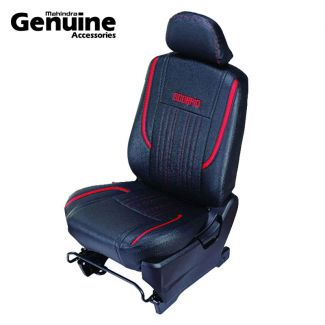 Scorpio Black Red PU Seat Cover 7 Seater Side Facing with Armrest for S3 ,S5 ,S7 ,S9 ,S11, S2, S4, S6, S8, S10