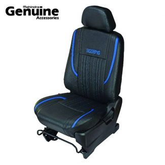 Scorpio 8 Seater with Armrest - Black with Blue Stripes PU Seat Covers Set for S7, S9, S11, S2, S4, S6, S8, S10