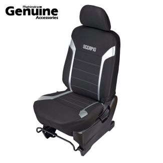 Scorpio 8 Seater with Armrest - Black Fabric+Silver PU combination Seat Cover set for S7, S9, S11, S2, S4, S6, S8, S10