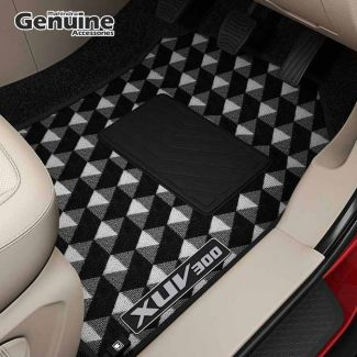 XUV300 Printed Carpet Floor Mats (Set of 3 pcs) for W8, W8 (O), W4, W6 (Without Boot Mat)