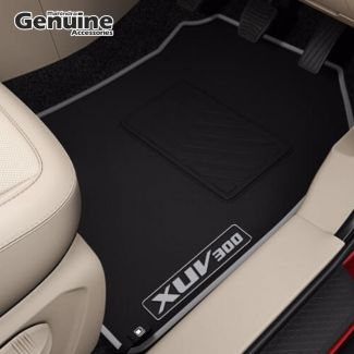 XUV300 Plain Border Carpet Mat in Black & Grey for W8, W8 (O), W4, W6 (Without Boot Mat)