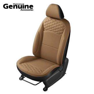 XUV300 Premium Theme Quilted Tan & Black Vinyl Seat Cover (W6 & W4 - 2nd Row 60:40 seats & Removable Head Rest )