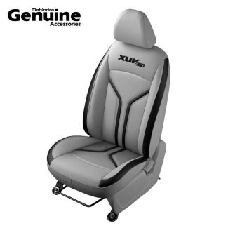 XUV300 Sporty Theme Perforated Grey & Black Insert Vinyl Seat Cover (W6 & W4 - 2nd Row 60:40 seats & Removable Head Rest )