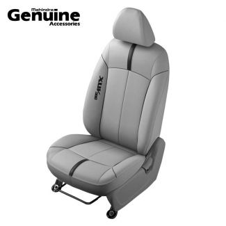 XUV300 Sporty Theme Grey & Black Piping Vinyl Seat Cover (W6 & W4 - 2nd Row 60:40 seats & Removable Head Rest )