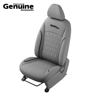 XUV300 Sporty Theme Quilted Grey & Black Insert Vinyl Seat Cover (W6 & W4 - 2nd Row 60:40 seats & Removable Head Rest )