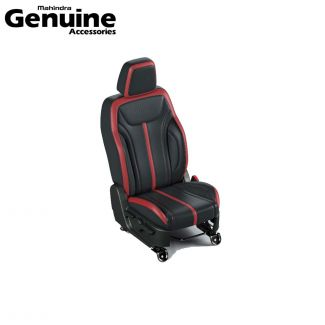 Mahindra Thar 2020 BS6 Seat Cover Set in Black with Red Insert for 6 Seater Variants - AX AC