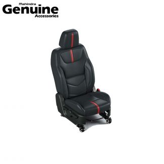 Mahindra Thar 2020 BS6 Seat Cover Set in Black with Red Centre Insert for 6 Seater Variants - AX AC
