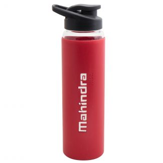 Mahindra Rise Full Silicone Glass Bottle - Red