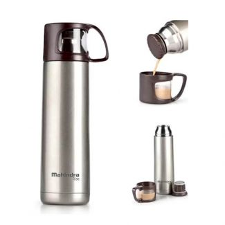 Mahindra Rise Sipper Flask with Cup Cap in Brown (500 ml)